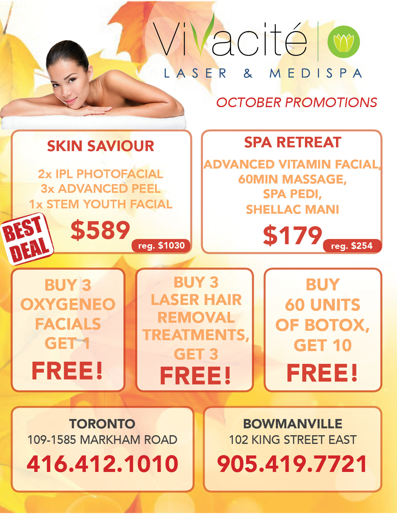Vivacite Scarborough Location June Promotions